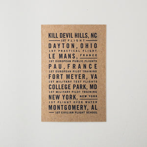 Flight Locations Letterpress Postcard
