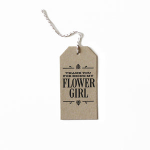 Flower Girl Thanks Tag Letterpress Card