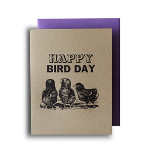 Happy Bird Day Letterpress Card