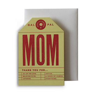 Mom Tag Letterpress Card