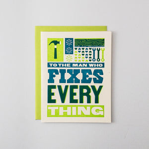 Man Who Fixes Everything Letterpress Card