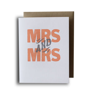 Mrs and Mrs Letterpress Card