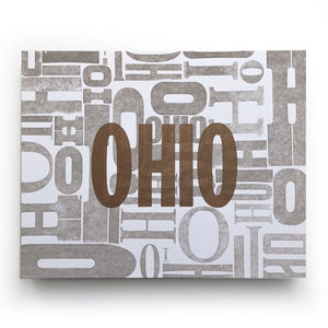Ohio Wood Type Jumble Letterpress Print