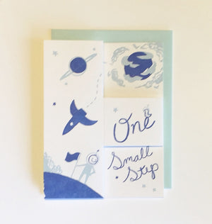One Small Step Pop Up Letterpress Card