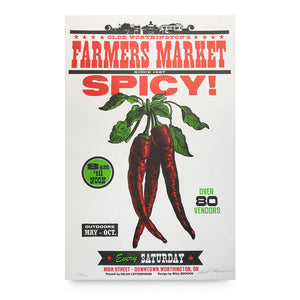 Spicy Pepper Farmers Market Letterpress Poster