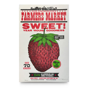 Strawberry Farmers Market Letterpress Poster