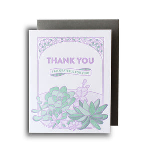 Succulents Thank You Letterpress Card