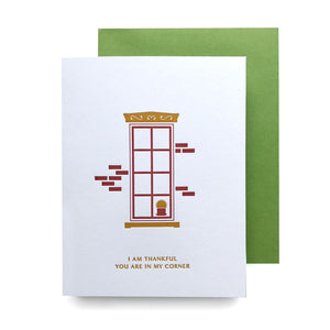 GV Thankful You Are In My Corner Letterpress Card