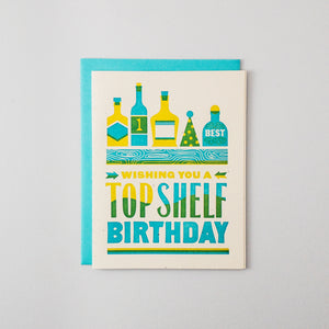Top Shelf Birthday Letterpress Card