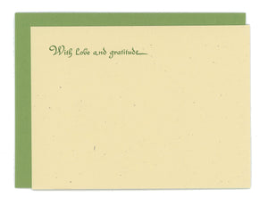 With Love and Gratitude Letterpress Notecard