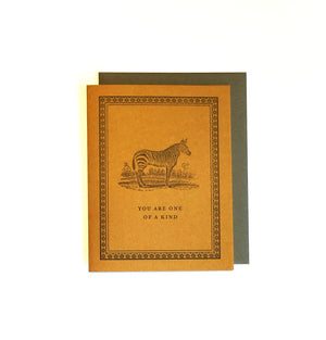 One of A Kind Zebra Letterpress Card