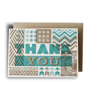 Retro Thank You Teal Letterpress Card