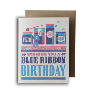 Blue Ribbon Birthday Letterpress Card