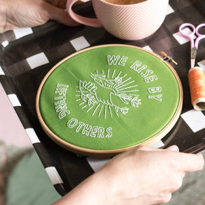 Cotton Clara - We Rise by Lifting Others Embroidery Kit - Green