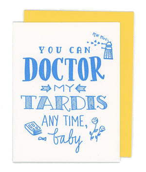 Dr Who Tardis Letterpress Card