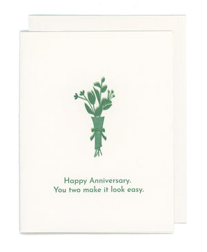 You Two Make It Look Easy Happy Anniversary Letterpress Card