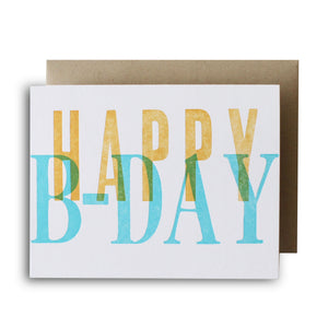 Happy B-day Wood Type Letterpress Card