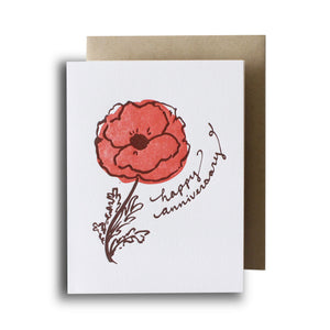 Happy Anniversary Flower Letterpress Card