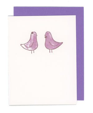 Mr & Mrs Love Birds Letterpress Card