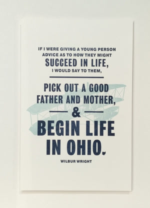 Begin In Ohio Wright Brothers Letterpress Art Print