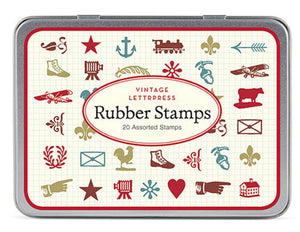 Vintage Letterpress Assorted Rubber Stamps