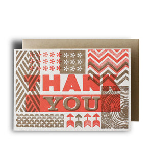 Retro Thank You Coral Wood Type Letterpress Card