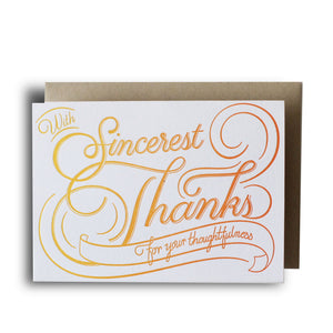 Sincerest Thanks Flourish Letterpress Card