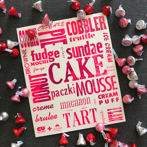 Sweet Treat Typographic Letterpress Poster