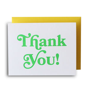Neon Thank You Green Letterpress Card