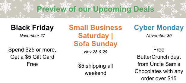 Black Friday, Small Business Saturday, Cyber Monday Preview