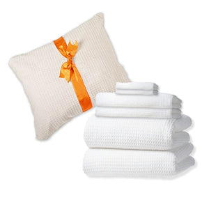 6-Pc Classic Waffle Bath Towel Set in Folding Gift Bag