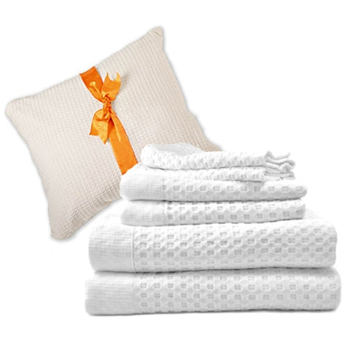 6-Pc Modern Luxury Waffle Towel Set in Folding Gift Bag