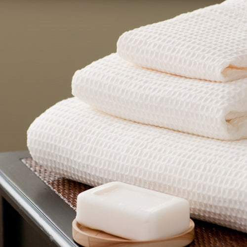 9-Pc Classic Waffle Bath Towel Set with Bath Mat