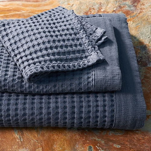 Midnight Blue Modern Waffle Towels - oversized, quick dry towels