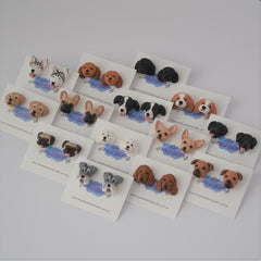Group photo of several dog breed handmade earrings sets