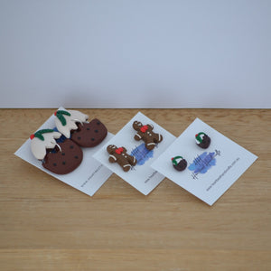 Group shot of handmade miniature christmas food earrings