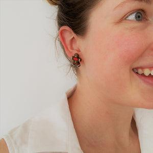 Christmas gingerbread stud earrings on model