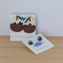 Group shot of handmade christmas pudding earrings