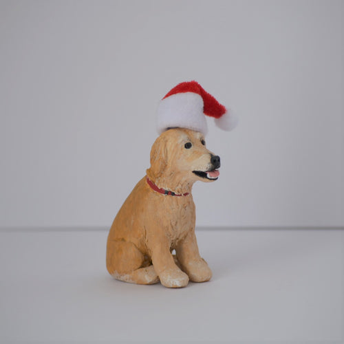 Handmade custom golden retriever dog figurine with santa hat