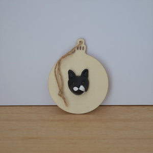 Bauble shaped timber Christmas ornament with polymer clay handmade cat face