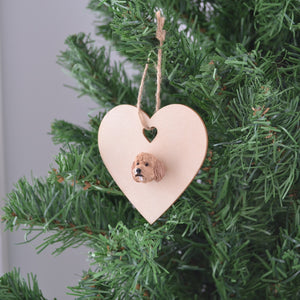 Heart shaped timber Christmas ornament with polymer clay handmade dog face