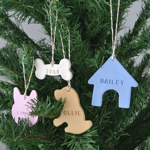 Custom pet name Christmas ornament- personalised pet name hanging polymer clay ornament