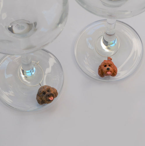 2 handmade wine glass charms of dogs