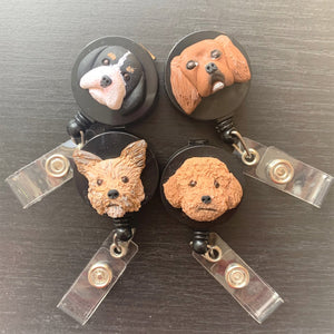 4 custom dog sculpted face on retractable ID badge clip