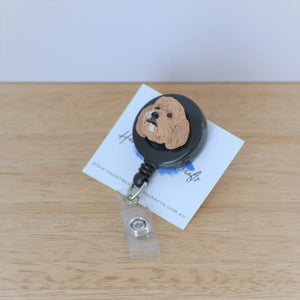custom dog sculpted face on retractable ID badge clip