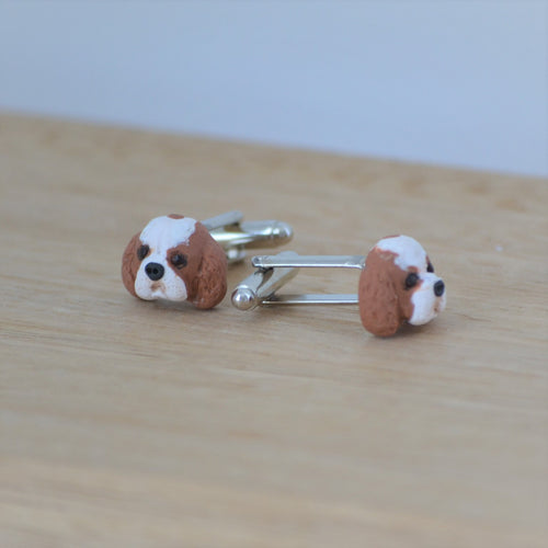 custom dog cufflinks shown at side angle