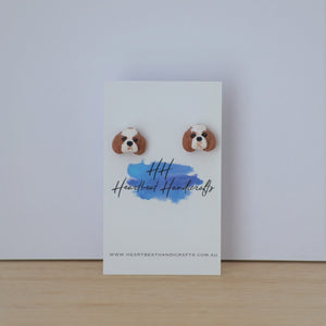 custom dog cufflinks shown on display card