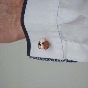 custom dog cufflink shown on sleeve