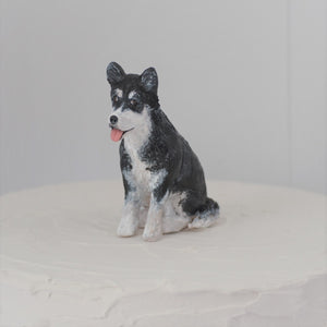 Polymer clay husky dog cake topper