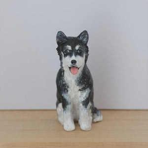 Polymer clay husky dog sitting figurine